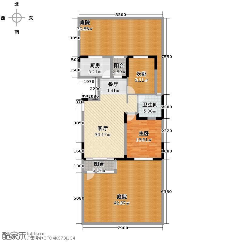 曲院风荷93.00㎡V首层户型2室2厅1卫