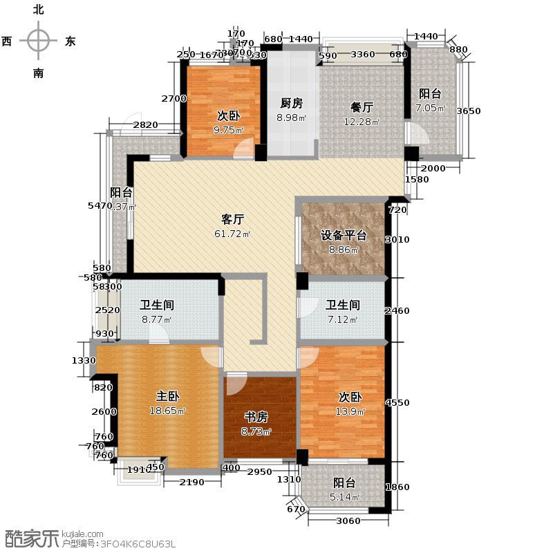 顺发江南丽锦170.00㎡E位于6号楼户型4室2厅2卫