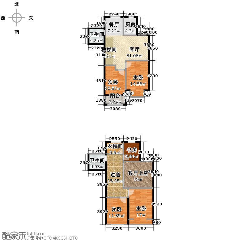 九浪山花园162.00㎡9号楼跃层户型5室2厅2卫