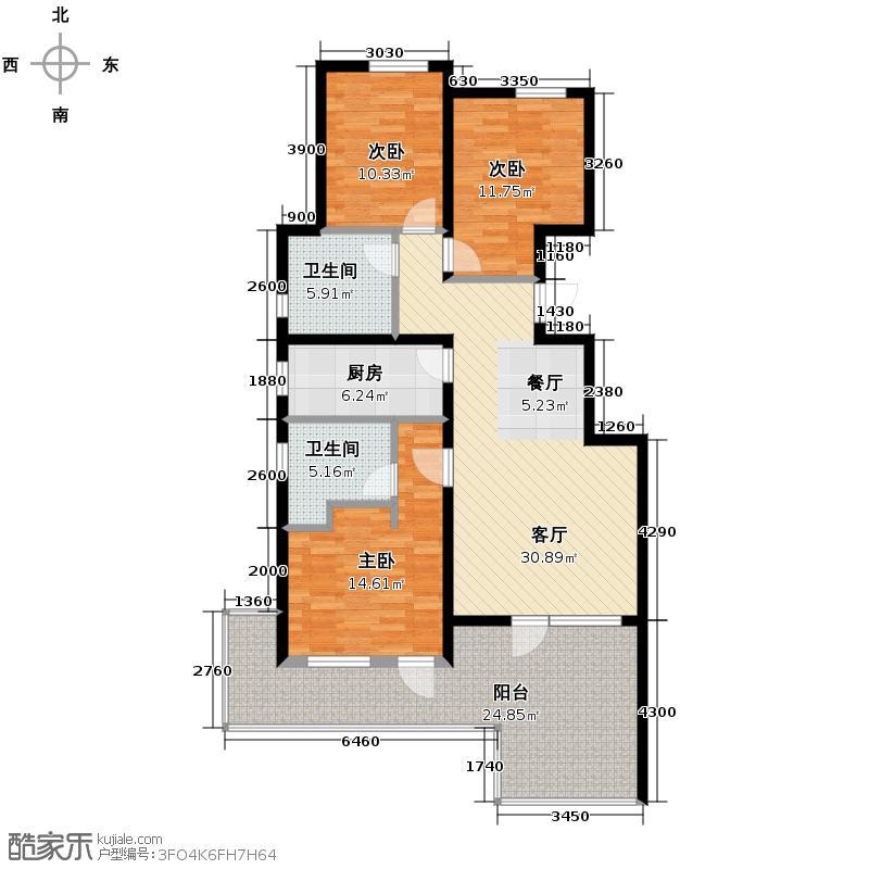 八达岭孔雀城124.37㎡A5标准层户型3室2厅2卫