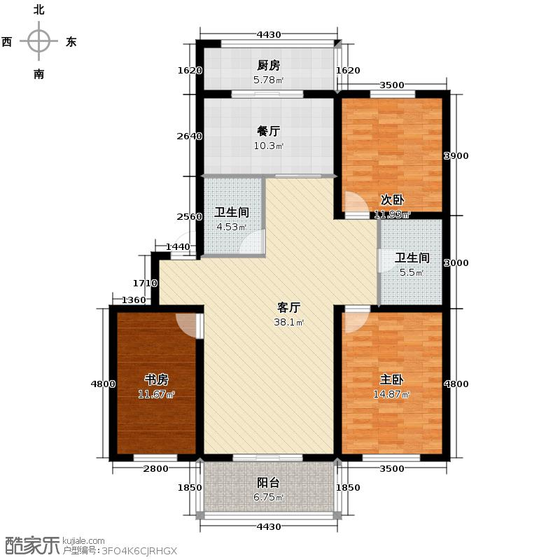 金盛鑫园140.53㎡户型3室2厅2卫1厨