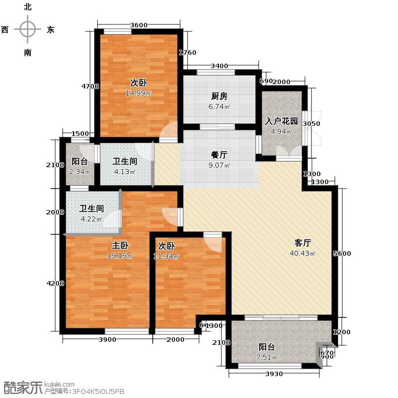 佰仕苑141.00㎡2、3#楼-2楼户型3室1厅2卫1厨