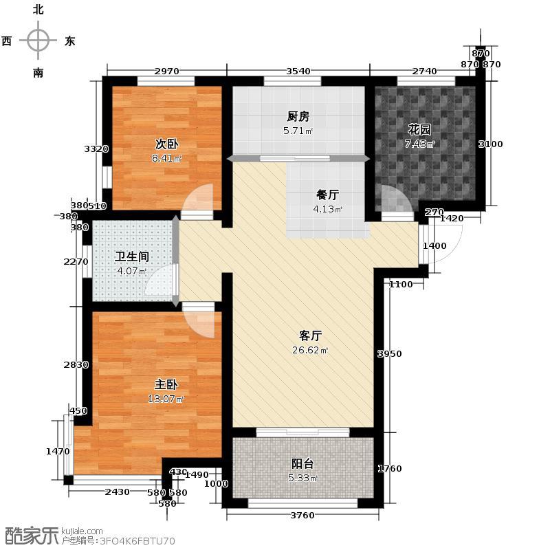 潮白河・孔雀英国宫101.00㎡D1户型2室2厅1卫