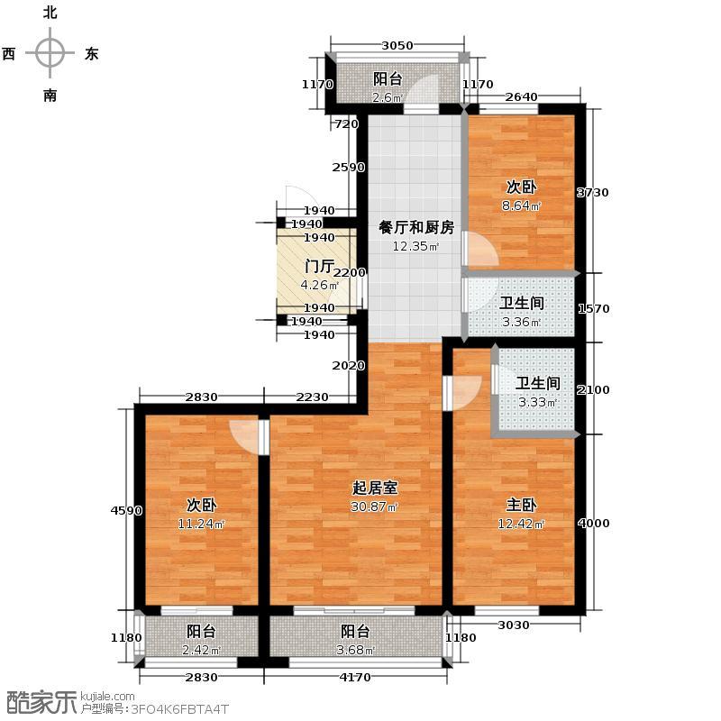 冠城国际134.84㎡1、3号楼c户型3室2厅2卫