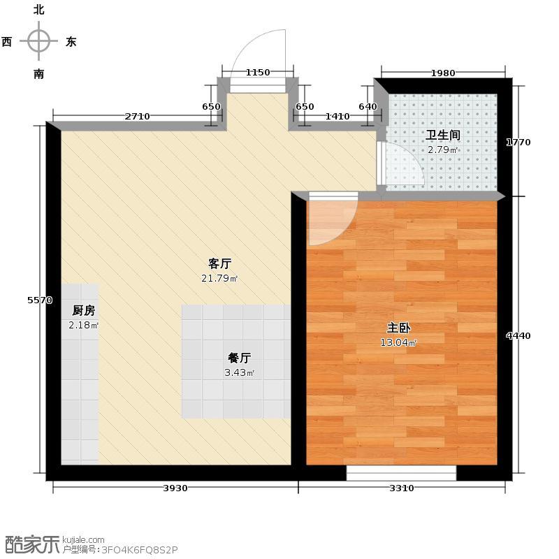 龙泰檀香苑55.00㎡A1户型1室2厅1卫
