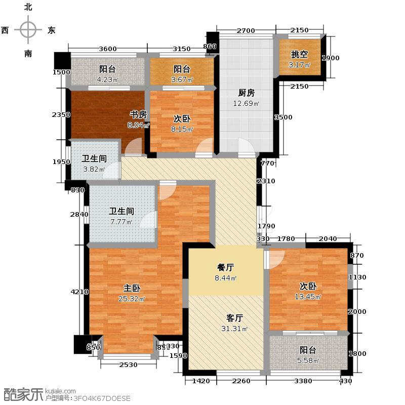 世茂玉锦湾172.00㎡B-3A户型4室2厅2卫