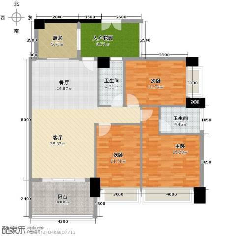 广弘天琪3室1厅2卫1厨149.00㎡户型图