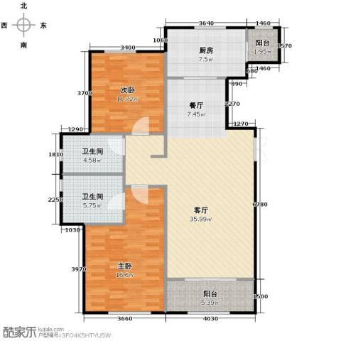 万通生态城新新家园2室2厅2卫0厨121.00㎡户型图