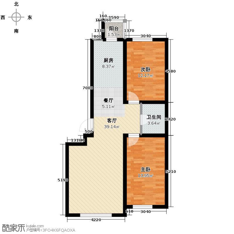 龙泰檀香苑104.00㎡E户型2室2厅1卫