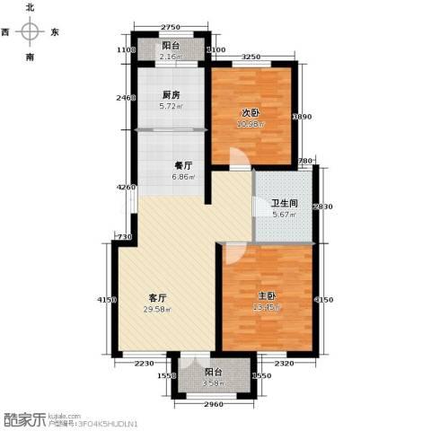 万通生态城新新家园2室2厅1卫0厨106.00㎡户型图