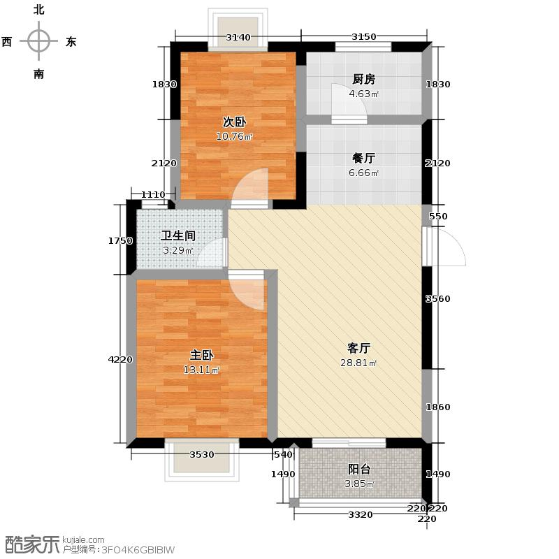 怡水花园85.13㎡A2户型2室2厅1卫