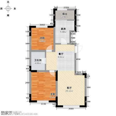 远创金泽锦城2室2厅1卫0厨82.00㎡户型图
