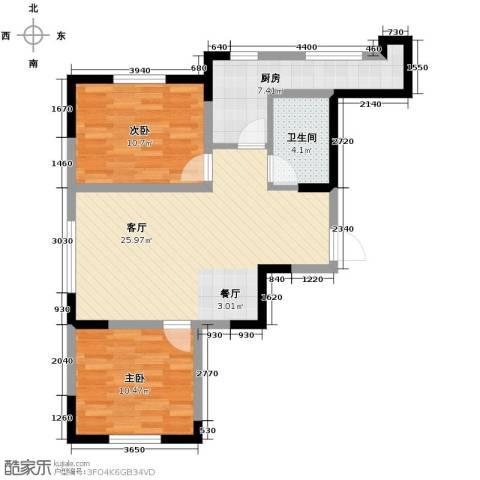 远创金泽锦城2室2厅1卫0厨84.00㎡户型图