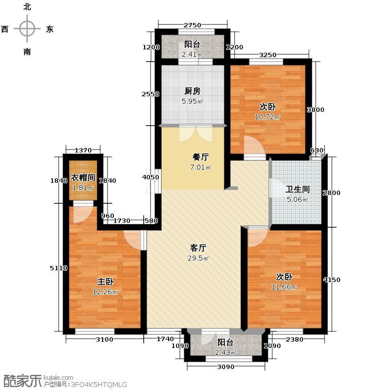 万通生态城新新家园126.18㎡二期C2户型3室2厅1卫