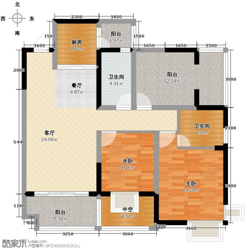 慕和南道115.70㎡户型2室1厅2卫1厨