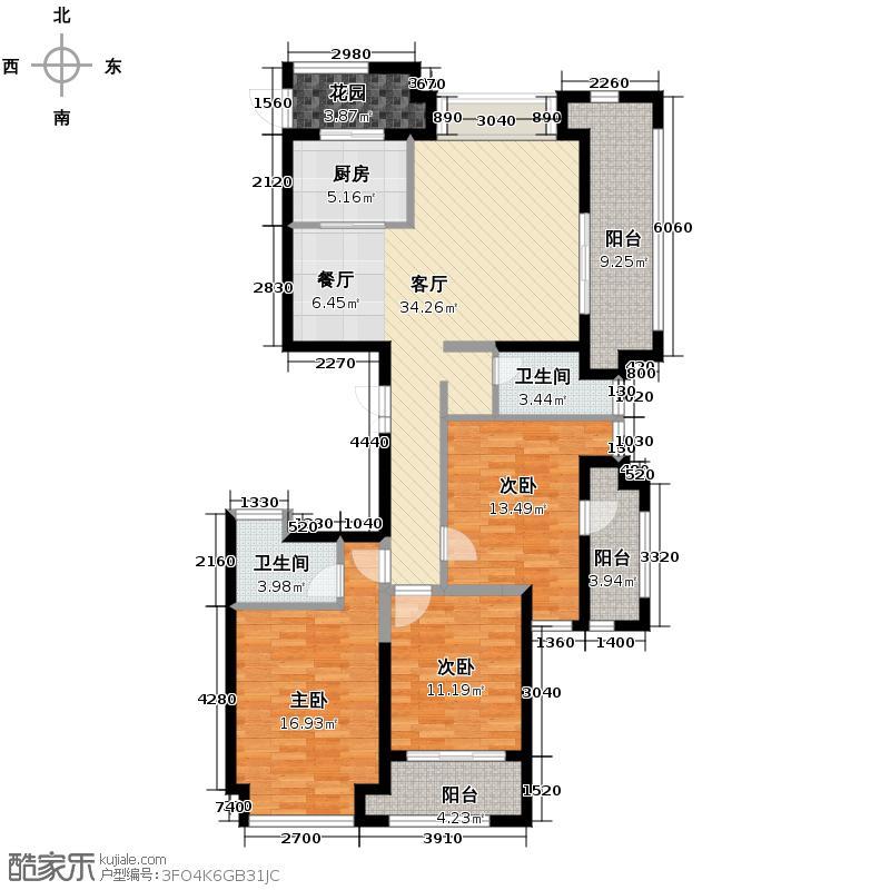 群升白马郡127.71㎡A7#楼户型3室1厅2卫1厨