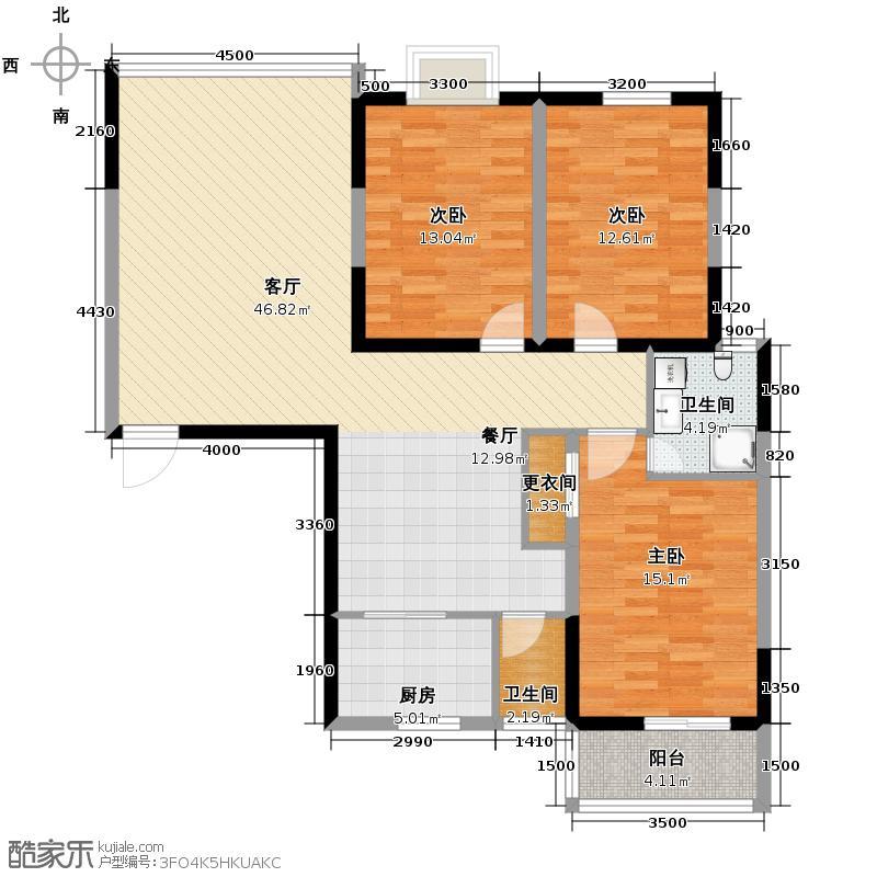 香雨一品134.15㎡B户型3室1厅2卫1厨