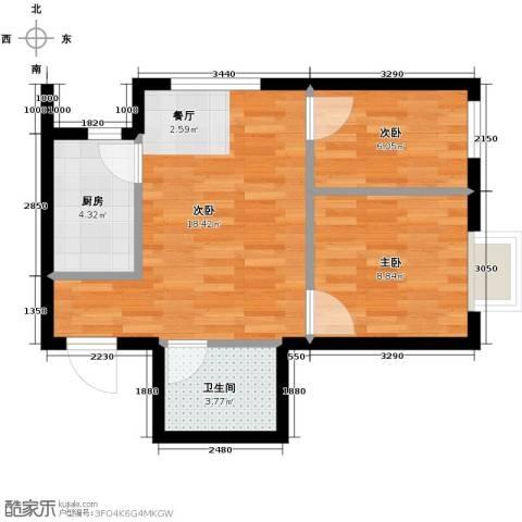 富海澜湾半岛2室2厅1卫0厨62.00㎡户型图