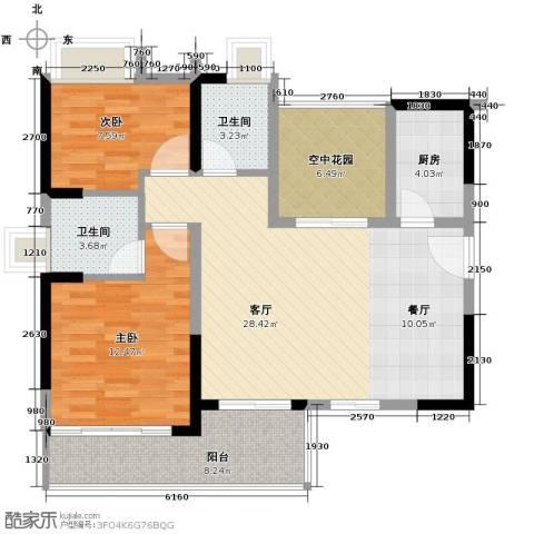 江湾国际3室2厅2卫0厨93.00㎡户型图