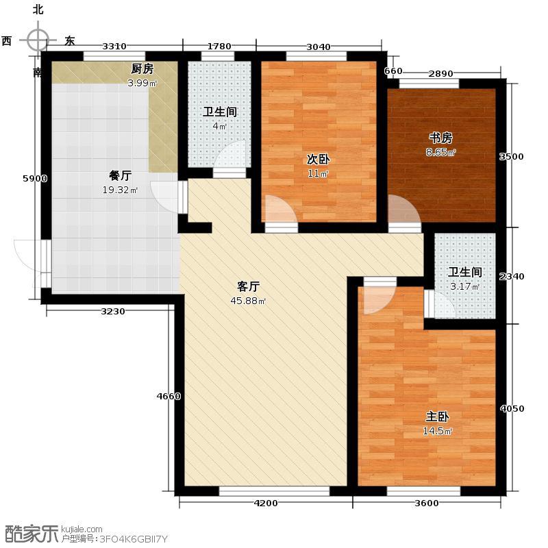 汉森金烁广场125.75㎡户型3室2厅2卫