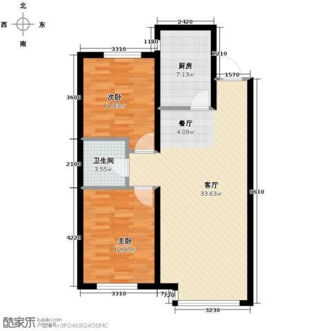 富海澜湾半岛2室2厅1卫0厨96.00㎡户型图