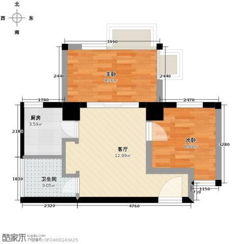 唐品A+2室1厅1卫1厨41.81㎡户型图