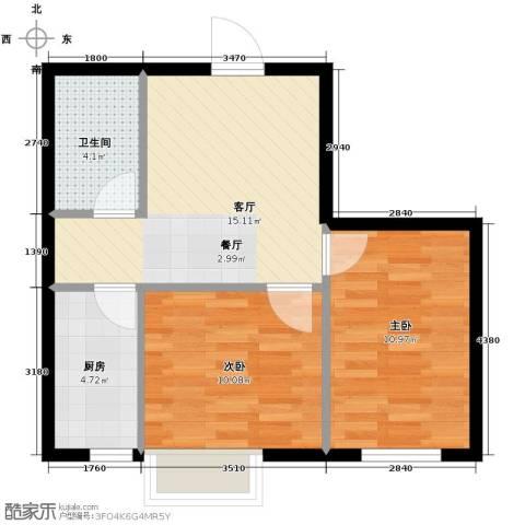 富海澜湾半岛2室2厅1卫0厨64.00㎡户型图