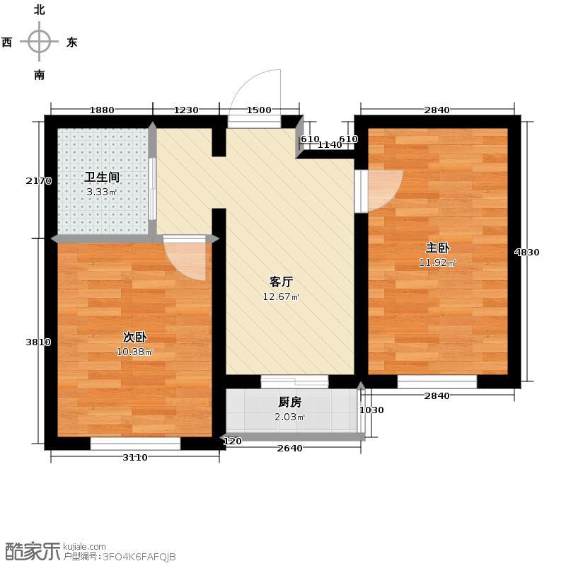 澜山溪谷55.38㎡C1-户型2室1厅1卫
