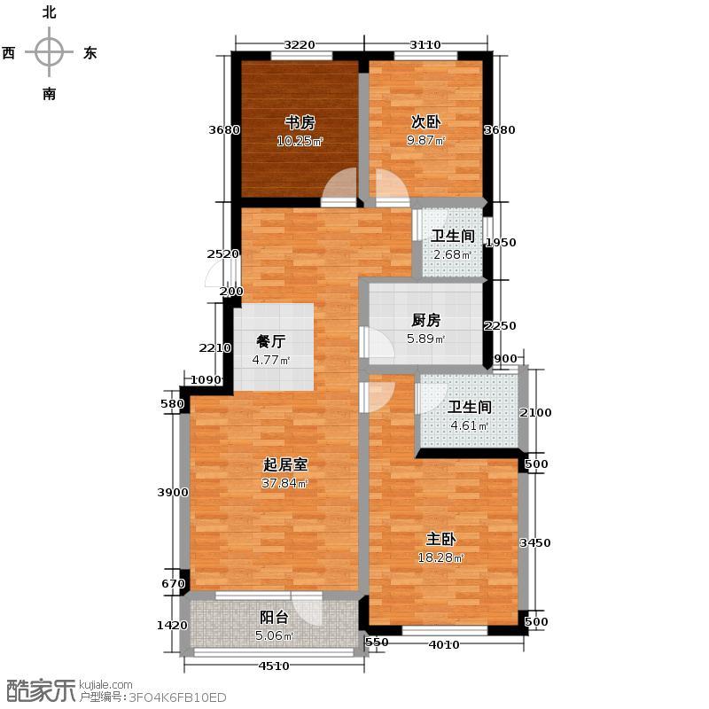 复地康桥127.12㎡三期C户型3室2厅2卫