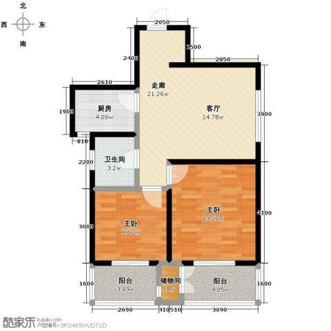 高新左岸2室0厅1卫1厨82.00㎡户型图