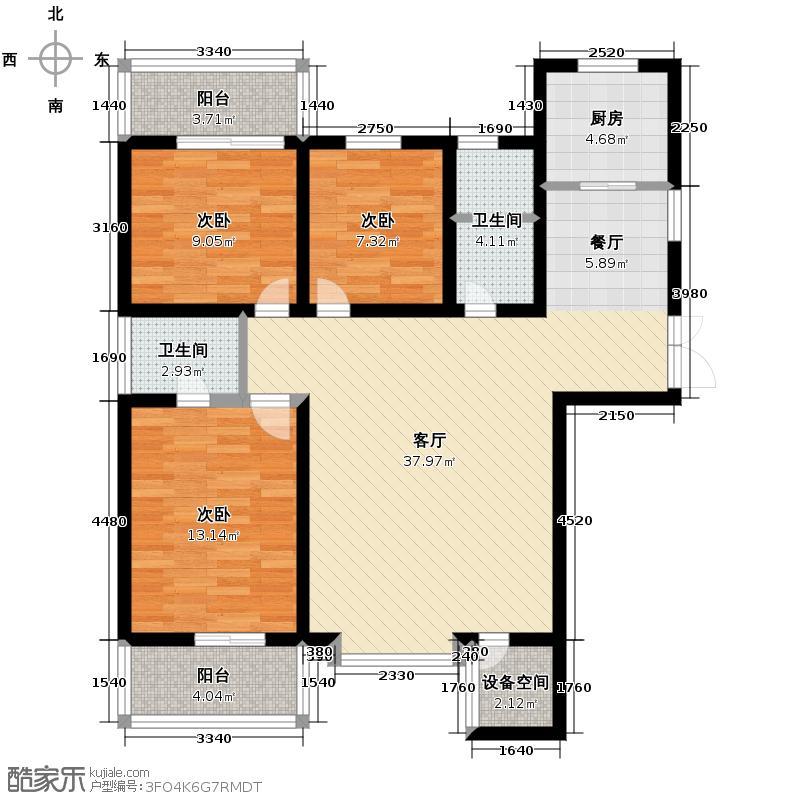 首府尚苑145.07㎡B1-1双卫户型3室2厅2卫