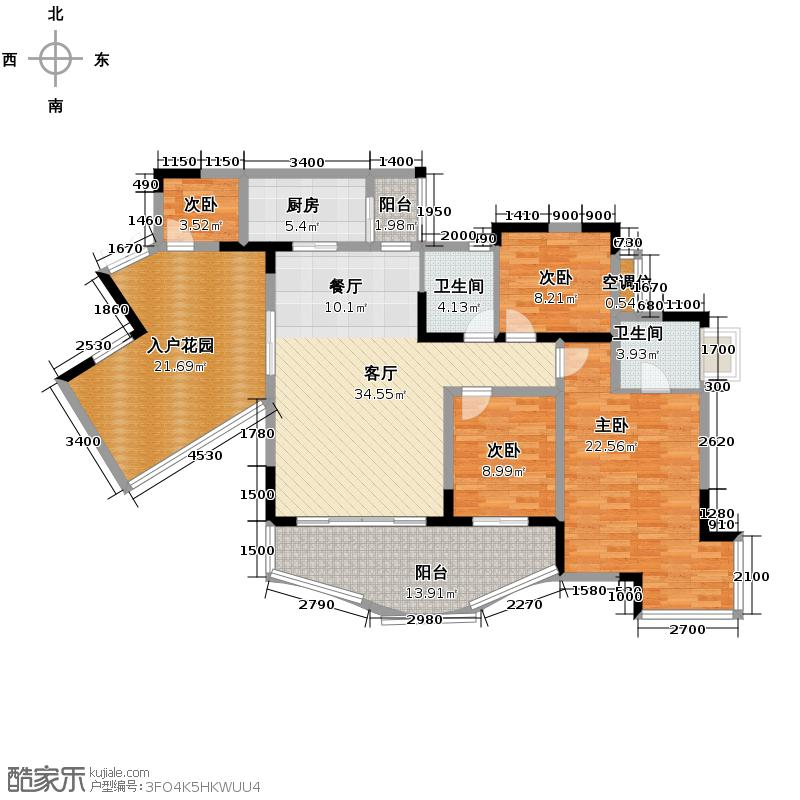 天骄年华103.61㎡房型户型4室1厅2卫1厨