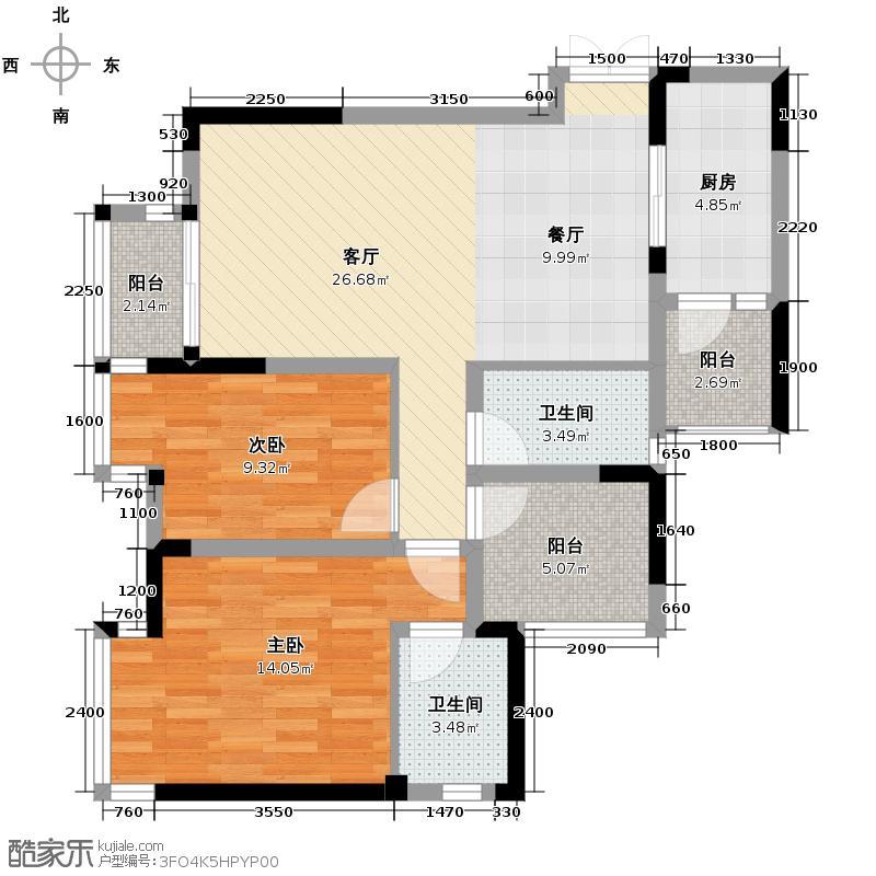 华宇金沙时代73.73㎡16号楼1号房户型2室1厅2卫1厨