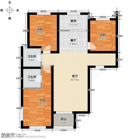唐城一品3室2厅2卫0厨127.00㎡户型图