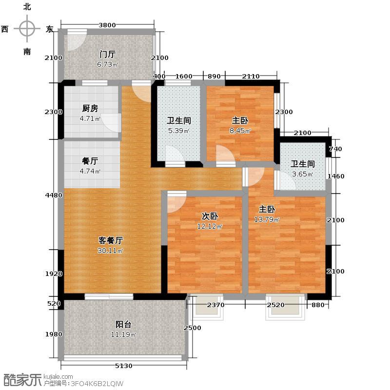 元益花园110.27㎡H1-6户型3室2厅2卫
