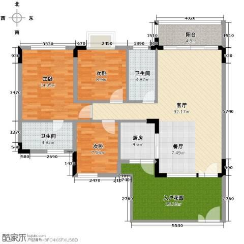 盛世华庭3室1厅2卫1厨138.00㎡户型图