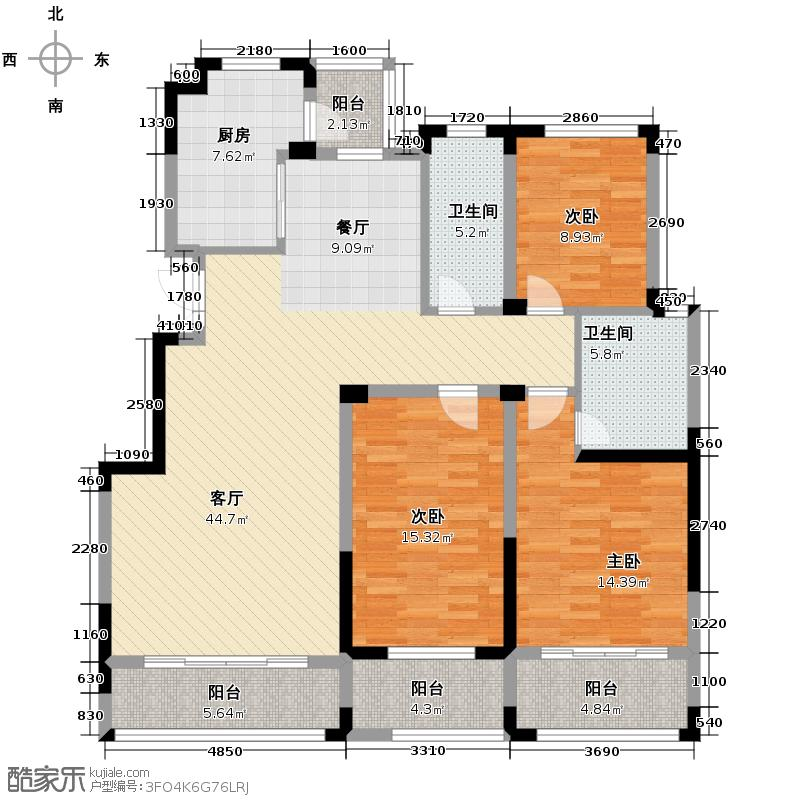 新加坡城137.00㎡户型3室2厅2卫