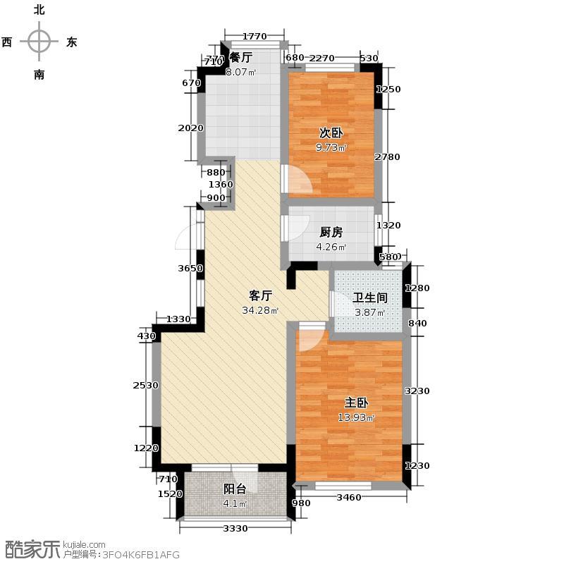 复地康桥101.25㎡三期B户型2室2厅2卫