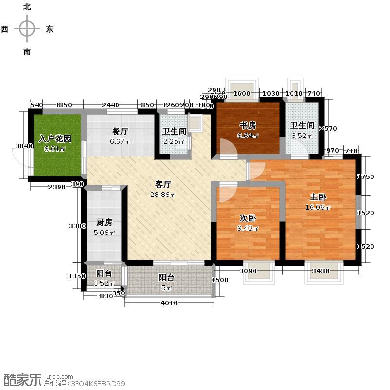 御锦城113.00㎡10、12号楼B2户型3室2厅2卫