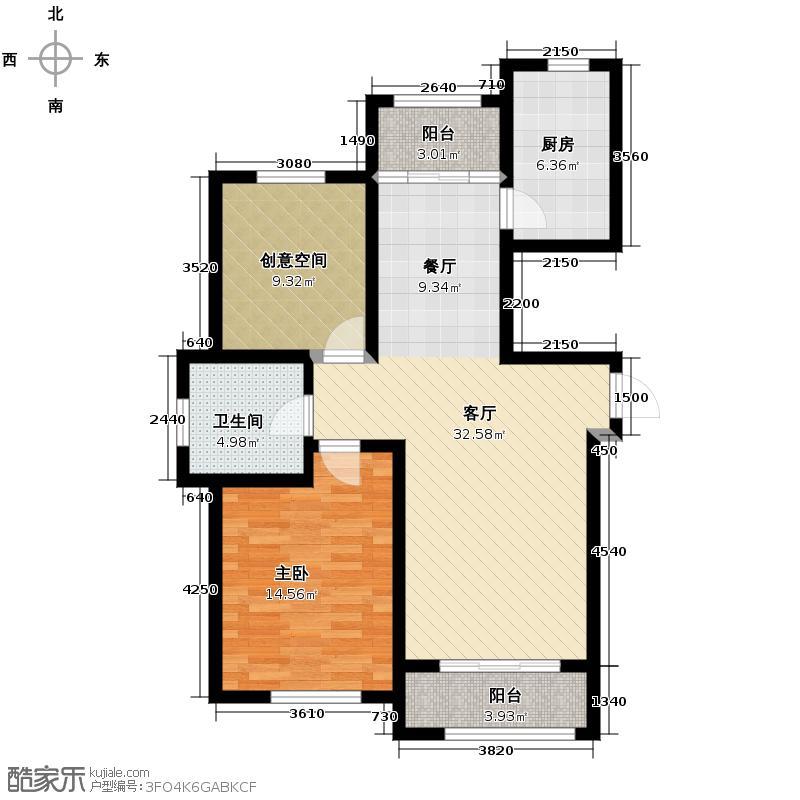 吴中家天下92.00㎡高层F1户型2室2厅1卫
