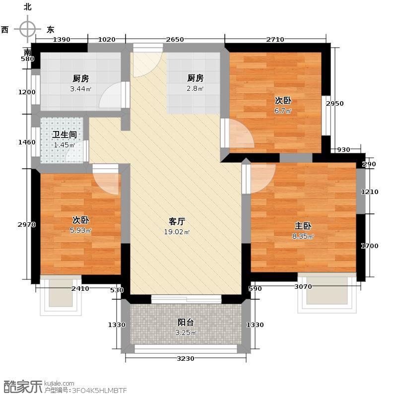 高鑫巴比伦花园84.68㎡E户型3室1厅1卫1厨