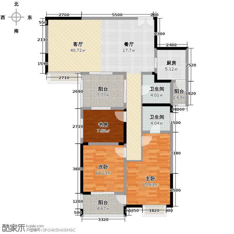 融汇温泉城115.64㎡户型3室1厅2卫1厨