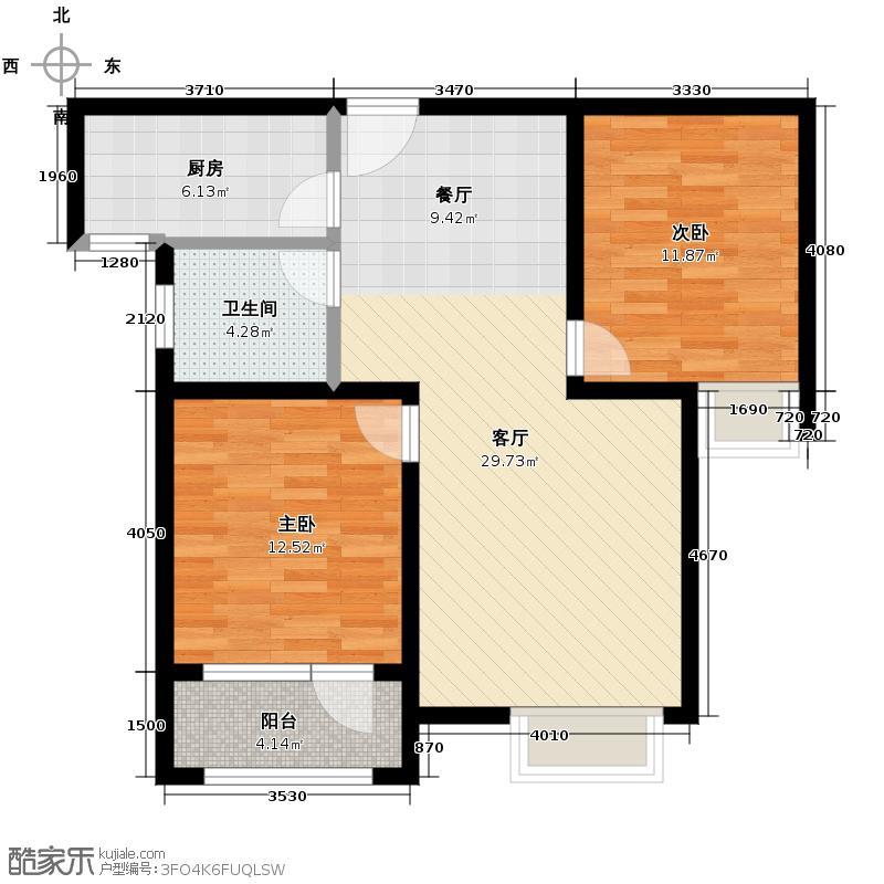 荣宝御园94.00㎡E户型2室2厅1卫