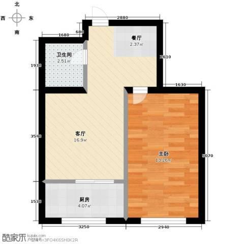 鸿博颐景花园1室1厅1卫0厨53.00㎡户型图