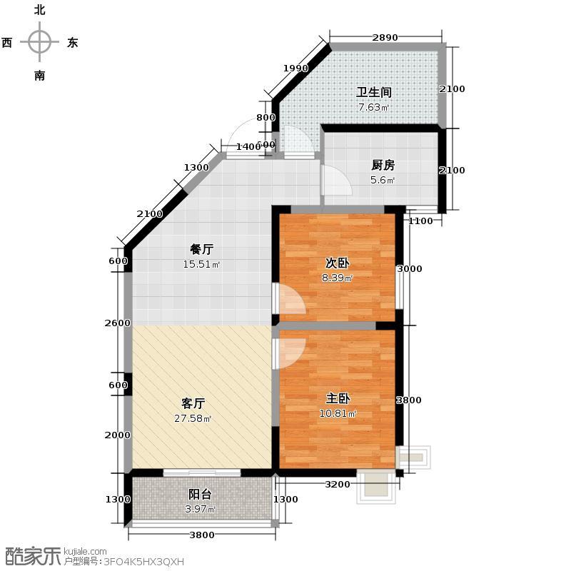 蔚蓝领寓86.05㎡2号楼E1户型2室1厅1卫1厨
