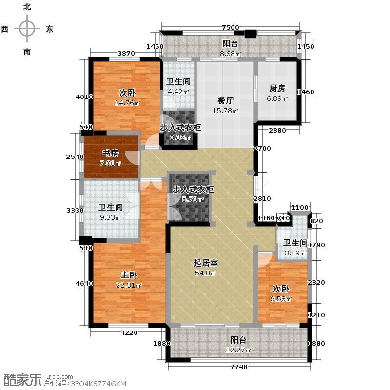 保利康桥198.00㎡一期C1户型4室2厅3卫