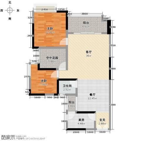华宇・秋水长天2室1厅1卫1厨78.00㎡户型图