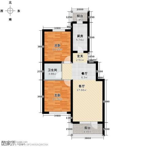 欧博城2室2厅1卫0厨94.00㎡户型图