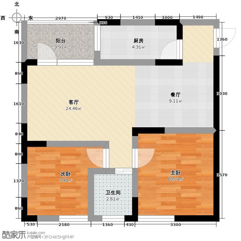 润芝园85.06㎡1号楼B5户型2室2厅1卫