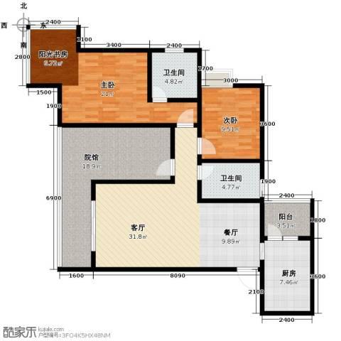 五星国色天香2室1厅2卫1厨143.00㎡户型图